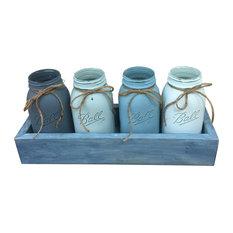 Blue Waves Quart Mason Jar Planter Box Centerpiece, 5 Piece Set