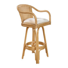 Key West Indoor Swivel Rattan & Wicker 30 Barstool Natural Finish Sunbrella Can