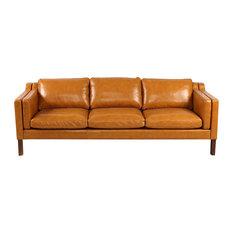 Kardiel   Monroe Midcentury Modern 3 Seater Sofa, Aniline Leather, Tan    Sofas