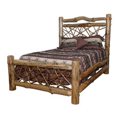 Furniture Barn USA - Rustic Pine Log Queen Size Twig Bed, Clear Varnish - Beds