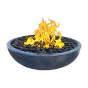 "Concrete Fire Pit Bowl With Natural Gas 6-Piece Set, 48"", Iron, Sealed"