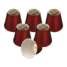 """Burgundy Modified Bell Chandelier Lampshade, 3""""x5""""x4.5"""", Set of 6"""