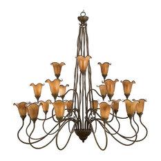 Mediterranean Patina and Art Glass 21-Light Chandelier