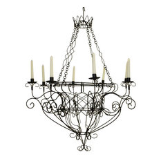 French wire basket chandelier houzz dr livingstone i presume black iron french basket 8 candle chandelier romantic country aloadofball Images