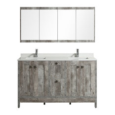 Aquamoon Laredo Washed Grey Double Sink Modern Bathroom Vanity With Mirror, 60""