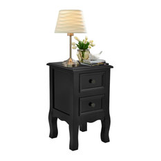 Costway Black Night Stand W/ 2 Storage Drawers Wood End Accent Table