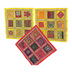 Mogul Interior - Yellow Indian Pillows Covers, Embroidered Vintage Sari Cushion Covers 16x16 - Decorative Pillows