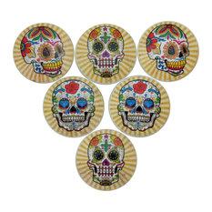Sugar Skull Starburst Oversized Cabinet Knobs, 6-Piece Set, Yellow