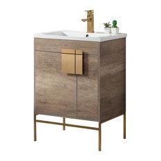 "Shawbridge 24"" Bathroom Vanity, Gray, Satin Brass Hardware"