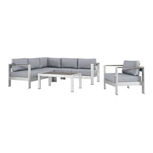 5-Piece Outdoor Sectional Sofa Set, Silver and Gray