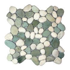 "12""x12"" Sea Green and White Pebble Tile"