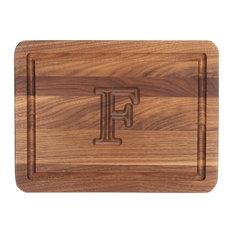BigWood Boards Rectangle Monogram Walnut Cheese Board, F