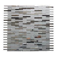 "12.6""x12.6"" Silver Sticks Mirror Glass Wall Mosaic Tile"