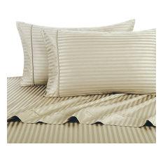 1000 Thread Count Egyptian Cotton Stripe Duvet Cover Set, California King, Beige