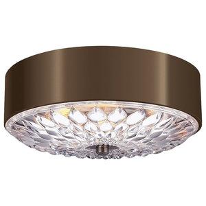 3-Light Small Flush Mount Ceiling Light, Dark Aged Brass, Large