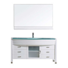 "Ava 55"" Single Bathroom Vanity Cabinet Set, White"