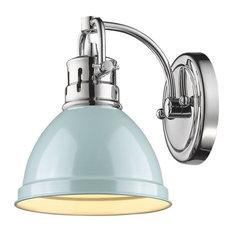 Duncan 1-Light Vanity Fixture, Chrome, Chrome/Seafoam