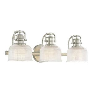 Prismatic Glass 3-Light Bathroom Light in Satin Nickel Finish