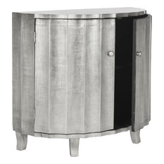 Rutherford Demilune Cabinet Silver Leaf Finish