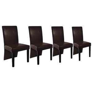 vidaXL Set of 4 Faux Leather Wood Dining Chairs, Brown