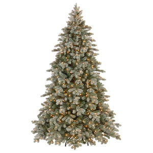 National Tree Company Poly Frosted Colorado Spruce Hinged Tree, 7.5'