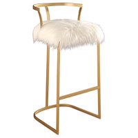 Abbyson Living Brittney Faux Fur Bar Stool, Gold