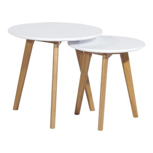 White and Oak Round Nesting Coffee Tables, Set of 2