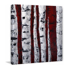 """Birch Bend White and Red"" Painting Print on Wrapped Canvas, 32""x32"""