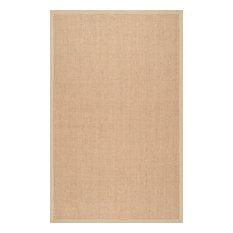 Handmade Eco Natural, Fiber Cotton Border Sisal Rug, Beige, 8'x10'