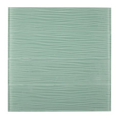 """Glass Subway Tile, CA416OS - Light Green, Wave Surface, 4""""X15-3/4"""", Box of 18"""