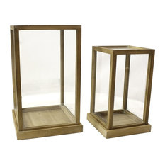 Two Midcentury Modern Tabletop Display Cases, Wood Glass Dome