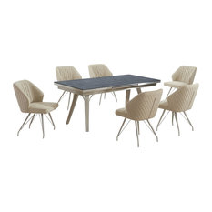 Regina Dark Grey Extendable Table With 6 Bronx Chairs, Natural