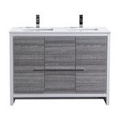 Dolce 48″ Double Sink Modern Bathroom Vanity with White Quartz Countertop, Ash G