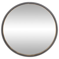 Round Iron Framed Wall Mirror