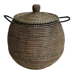 Doum Basket With Black Interweaving, Small