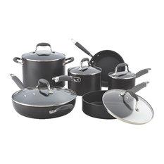 Advanced Hard-Anodized Nonstick 11-Piece Cookware Set, Gray