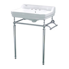 Whitehaus WHV024-L33-3H-C Three Holes Console Sink With Polished Chrome Leg