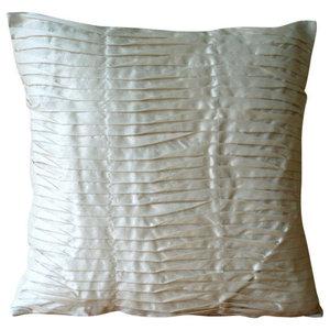 Textured Pintucks Ivory Art Silk 50x50 Throw Cushions Cover, Ivory Beauty