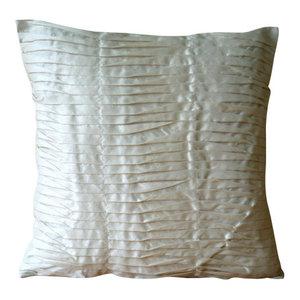 Textured Pintucks 65x65 Art Silk Ivory Euro Pillowcases, Ivory Beauty