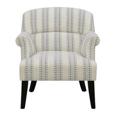 Roll Arm Cream Accent Chair With Blue Patterned Stripes
