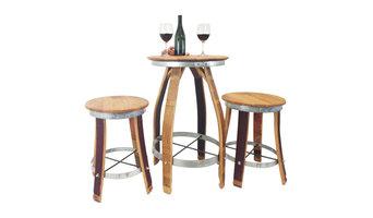 Wine Barrel Pub Set With Swivel Top Stools