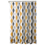 Triangle Home Fashions - Mid Century Geo Shower Curtain 72x72, Gold/Gray - This shower curtain is so unique and stylish. The colors appear to be like liquid paint dripping down the panels from top to bottom. This is definitely a statement piece for your home. Use this shower curtain in your master bathroom or guest bathroom.