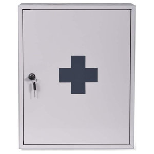 First Aid Wall Cabinet in Powder Coated Steel With Three Shelves for Storage