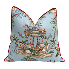 Blue Pagoda Chinoiserie Pillow Red Accent Pipping Lumbar Asian Pillow Cover