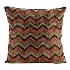 Silk Chevron Alloy Brown Decorative Cushion Cover, 50x50cm