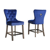 """Vienne Tufted Velvet 24"""" Counter Chairs, Set of 2, Navy Blue"""