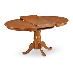 """Portland Single Pedestal Oval Dining Table With 18"""" Extension Butterfly Leaf"""