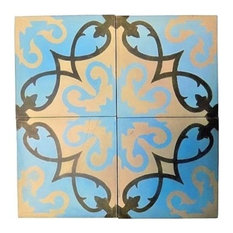 "Moroccan Handmade Cement Mosaic Tile, 8""x8"" Floral Design, Set of 12"