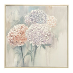 """Hand Painted Botanical Canvas Art With Wood Frame, 40""""x40"""""""