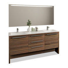 Bathroom Vanity Set With Mirror Double Sink Free Standing, Nona, Matte Walnut